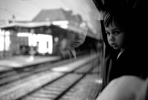 Child on a train